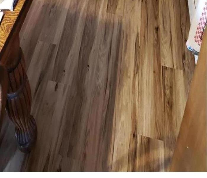 Storm damaged wood flooring.