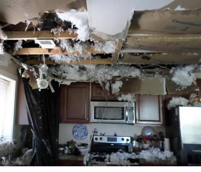 A kitchen that was destroyed by fire